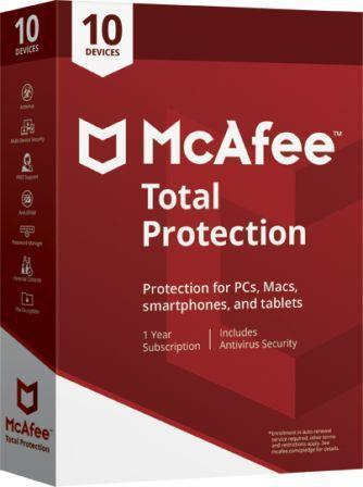 Mcafee Total Protection 10 User - 1 Year  (Single key)